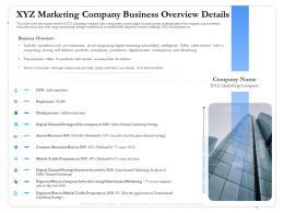 XYZ Marketing Company Business Overview Details Focus Ppt Topics