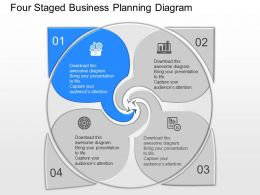 Yb Four Staged Business Planning Diagram Powerpoint Template