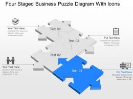 Yd Four Staged Business Puzzle Diagram With Icons Powerpoint Template