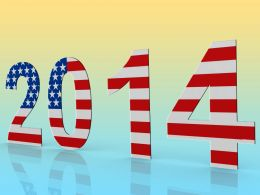 Year 2014 With Colors Of American Flag Stock Photo