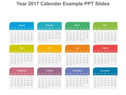 year 2017 calendar example ppt slides