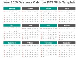 Year 2020 Business Calendar Ppt Slide Template
