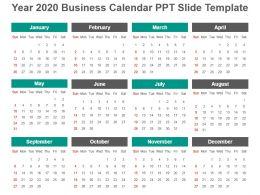 Year 2020 Business Calendar Ppt Slide Template