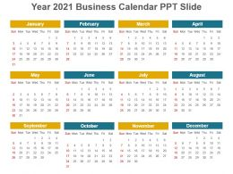 Year 2021 Business Calendar Ppt Slide