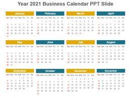 Year 2021 Business Calendar Ppt Slide