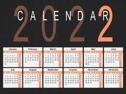 Year 2022 Calender Illustration Ppt Slides