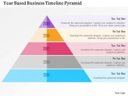 Year Based Business Timeline Pyramid Flat Powerpoint Design