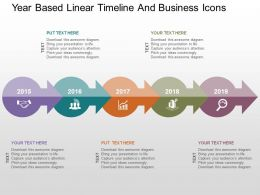 Year Based Linear Timeline And Business Icons Flat Powerpoint Design