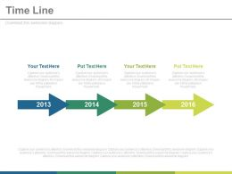 Year Based Linear Timeline For Financial Strategy Powerpoint Slides