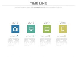 Year Based Sequential Timeline With Device Icons Powerpoint Slides