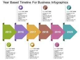 Year Based Timeline For Business Infographics Flat Powerpoint Design