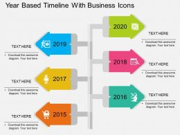 Year Based Timeline With Business Icons Flat Powerpoint Design