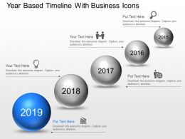 Year Based Timeline With Business Icons Powerpoint Template Slide