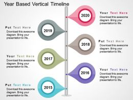 Year Based Vertical Timeline Flat Powerpoint Design