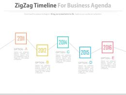 Year Based Zigzag Timeline For Business Agenda Representation Powerpoint Slides