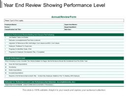 Year End Review Showing Performance Level