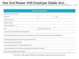 Year End Review With Employee Details And Qualified Position