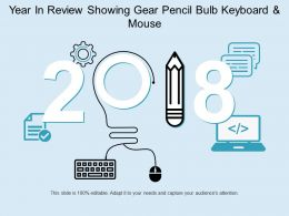 Year In Review Showing Gear Pencil Bulb Keyboard And Mouse
