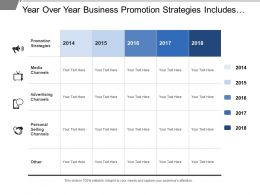 Year Over Year Business Promotion Strategies Includes Techniques Of Different Channels