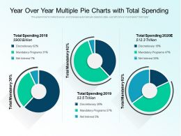 Year Over Year Multiple Pie Charts With Total Spending