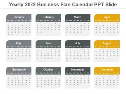 Yearly 2022 Business Plan Calendar Ppt Slide