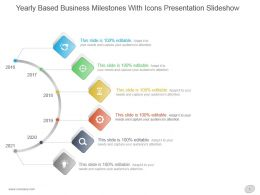 Yearly Based Business Milestones With Icons Presentation Slideshow