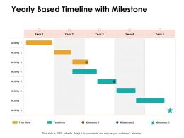 Yearly Based Timeline With Milestone Ppt Powerpoint Presentation Gallery Example File