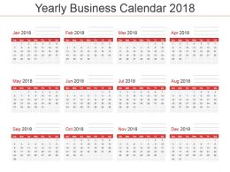 Yearly Business Calendar 2018 Powerpoint Template