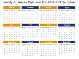 Yearly Business Calendar For 2019 Ppt Template