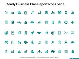 Yearly Business Plan Report Icons Slide A423 Ppt Powerpoint Presentation Layouts Deck