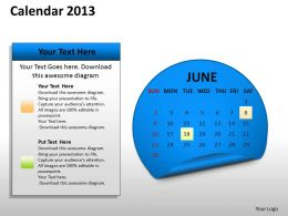 Yearly Calender 2013 PowerPoint Slides PPT templates