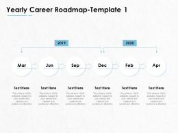 Yearly Career Roadmap 2019 To 2020 Ppt Powerpoint Presentation Portfolio Guide