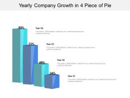 Yearly Company Growth In 4 Piece Of Pie