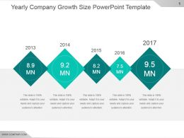 Yearly Company Growth Size Powerpoint Template