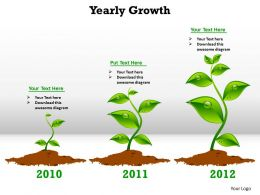 yearly growth shown by plants growing from seedling to fully grown powerpoint diagram templates graphics 712