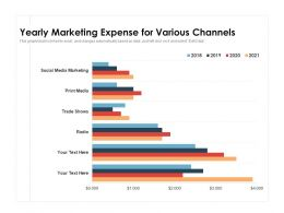 Yearly Marketing Expense For Various Channels