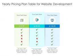 Yearly Pricing Plan Table For Website Development Infographic Template