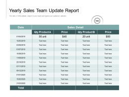 Yearly Sales Team Update Report