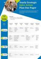 Yearly Strategic Sales Action Plan One Pager Presentation Report Infographic PPT PDF Document
