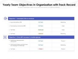 Yearly Team Objectives In Organization With Track Record