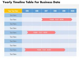 Yearly Timeline Table For Business Data Flat Powerpoint Design