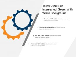 Yellow And Blue Intersected Gears With White Background