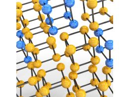 Yellow And Blue Molecular Structure Stock Photo