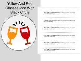 Yellow And Red Glasses Icon With Black Circle