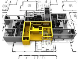 Yellow Apartment Mockup On Plans For Architecture Stock Photo