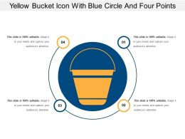 Yellow Bucket Icon With Blue Circle And Four Points
