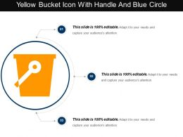 Yellow Bucket Icon With Handle And Blue Circle