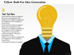 Yellow Bulb For Idea Generation Flat Powerpoint Design