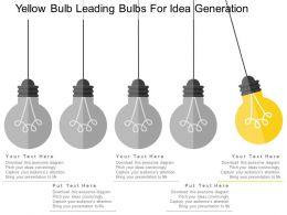 yellow_bulb_leading_bulbs_for_idea_generation_flat_powerpoint_design_Slide01