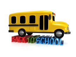 Yellow Bus With Back To School Concept Stock Photo